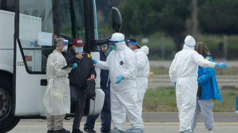 <p>               Passengers from the Grand Princess, a cruise ship carrying multiple people who have tested positive for COVID-19, exit a bus before boarding a chartered plane in Oakland, Calif., Tuesday, March 10, 2020. The passengers on the flight are going to San Antonio to be quarantined at Lackland Air Force Base. (AP Photo/Jeff Chiu)             </p>
