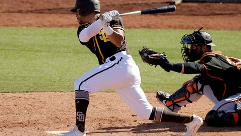 <p>               San Diego Padres' Tommy Pham hits an RBI single during the fifth inning of a spring training baseball game against the San Francisco Giants Sunday, March 1, 2020, in Peoria, Ariz. (AP Photo/Charlie Riedel)             </p>