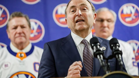 <p>               NHL commissioner Gary Bettman speaks during a news conference before an NHL hockey game between the Boston Bruins and New York Islanders, Saturday, Feb. 29, 2020, in Uniondale, NY. (AP Photo/John Minchillo)             </p>