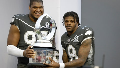 <p>               AFC defensive end Calais Campbell, of the Jacksonville Jaguars, (93) and quarterback Lamar Jackson, of the Baltimore Ravens, (8) hold the Pro Bowl trophy after the NFL Pro Bowl football game, Sunday, Jan. 26, 2020, in Orlando, Fla. The AFC defeated the NFC 38-33. Campbell won the MVP defensive player of the game, while Jackson won the MVP offensive player of the game. (AP Photo/Chris O'Meara)             </p>