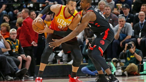 <p>               Toronto Raptors center Serge Ibaka (9) guards against Utah Jazz center Rudy Gobert (27) in the first half during an NBA basketball game Monday, March 9, 2020, in Salt Lake City. (AP Photo/Rick Bowmer)             </p>
