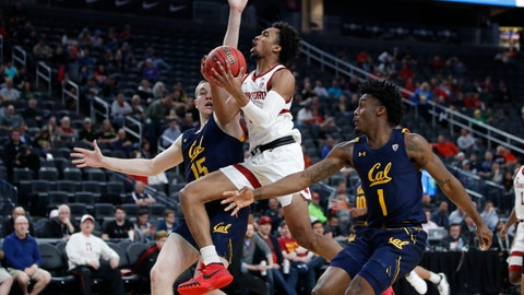 <p>               Stanford's Bryce Wills (2) shoots between California's Grant Anticevich, left, and California's Joel Brown during the second half of an NCAA college basketball game in the first round of the Pac-12 men's tournament Wednesday, March 11, 2020, in Las Vegas. (AP Photo/John Locher)             </p>