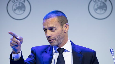 <p>               UEFA President Aleskander Ceferin gestures during a meeting of European soccer leaders at the congress of the UEFA governing body in Amsterdam's Beurs van Berlage, Netherlands, Tuesday, March 3, 2020. (AP Photo/Peter Dejong)             </p>