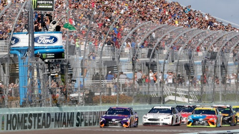 <p>               FILE - In this Nov. 18, 2018, file photo, Denny Hamlin, left, leads the pack at the start of the NASCAR Cup Series championship auto race at Homestead-Miami Speedway, in Homestead, Fla. NASCAR and IndyCar have each called off their races this weekend. NASCAR was scheduled to run Sunday at Atlanta Motor Speedway without spectators but said Friday, March 13, 2020, it is calling off this weekend and next week's race at Homestead-Miami Speedway. IndyCar was scheduled to open its season Sunday on the streets of St. Petersburg, Florida, but suspended it's season through the end of April. (AP Photo/Lynne Sladky, File)             </p>