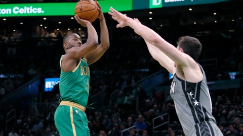 <p>               Boston Celtics guard Kemba Walker (8) shoots over Brooklyn Nets forward Rodions Kurucs during the second half of an NBA basketball game Tuesday, March 3, 2020, in Boston. (AP Photo/Mary Schwalm)             </p>