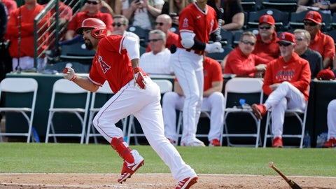 <p>               Los Angeles Angels' Anthony Rendon singles during the fourth inning of a spring training baseball game against the San Diego Padres, Thursday, Feb. 27, 2020, in Tempe, Ariz. (AP Photo/Darron Cummings)             </p>