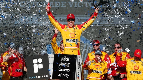 <p>               Joey Logano celebrates in Victory Lane after winning a NASCAR Cup Series auto race at Phoenix Raceway, Sunday, March 8, 2020, in Avondale, Ariz. (AP Photo/Ralph Freso)             </p>