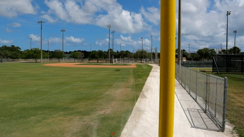 <p>               An empty practice field is seen at the Miami Marlins spring training baseball facility, Monday, March 16, 2020, in Jupiter, Fla. On Sunday night, the Centers for Disease Control and Prevention recommended gatherings of 50 people or more be canceled or postponed across the country for the next eight weeks. Major League Baseball planned to update teams Monday on its health policy.(AP Photo/Julio Cortez)             </p>