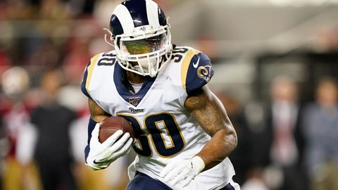 <p>               FILE - In this Saturday, Dec. 21, 2019 file photo, Los Angeles Rams running back Todd Gurley II carries against the San Francisco 49ers during the first half of an NFL football game in Santa Clara, Calif.  The Los Angeles Rams have released running back Todd Gurley, their superstar running back with a massive contract and a troubling injury history. The Rams made the move Thursday, March 19, 2020 several minutes before roughly $10 million in the three-time Pro Bowl selection's contract became fully guaranteed. (AP Photo/Tony Avelar, File)             </p>