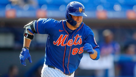 <p>               New York Mets' Tim Tebow runs out a ground out against the St. Louis Cardinals during the eighth inning of a spring training baseball game, Wednesday, March 4, 2020, in Port St. Lucie, Fla. (AP Photo/Julio Cortez)             </p>