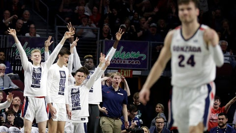 <p>               The Gonzaga bench reacts after a three-point basket during the first half of an NCAA college basketball game against San Francisco in the West Coast Conference men's tournament Monday, March 9, 2020, in Las Vegas. (AP Photo/Isaac Brekken)             </p>