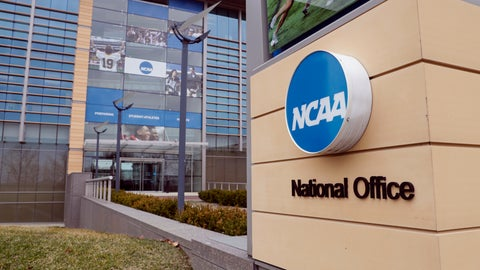 <p>               FILE - This March 12, 2020, file photo, shows the national office of the NCAA in Indianapolis. The NCAA will distribute $225 million to its Division I members in June, $375 million less than had been budgeted this year because the coronavirus outbreak forced the cancellation of the men's basketball tournament.  (AP Photo/Michael Conroy, File)             </p>