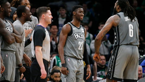<p>               Brooklyn Nets guard Caris LeVert (22) celebrates with center DeAndre Jordan (6) late in overtime of the team's NBA basketball game against the Boston Celtics, Tuesday, March 3, 2020, in Boston. (AP Photo/Mary Schwalm)             </p>