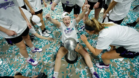 <p>               Portland's Keeley Frawley, center, celebrates with teammates after defeating San Diego in an NCAA college basketball game in the final of the West Coast Conference women's tournament Tuesday, March 10, 2020, in Las Vegas. (AP Photo/John Locher)             </p>