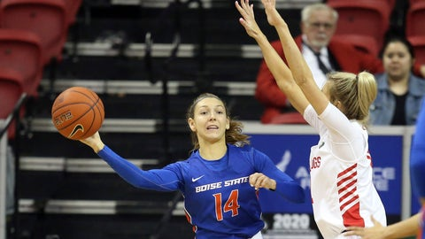 <p>               Boise State's Braydey Hodgins (14) passes the ball as Fresno State's Maddi Utti (11) defends during the first half of an NCAA college basketball game for the Mountain West Conference women's tournament championship Wednesday, March 4, 2020, in Las Vegas. (AP Photo/Isaac Brekken)             </p>