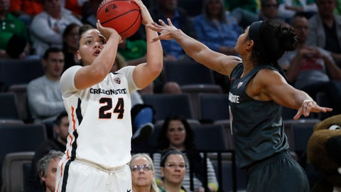 <p>               Oregon State's Destiny Slocum (24) shoots over Washington State's Chanelle Molina (11) during the second half of an NCAA college basketball game in the first round of the Pac-12 women's tournament Thursday, March 5, 2020, in Las Vegas. (AP Photo/John Locher)             </p>
