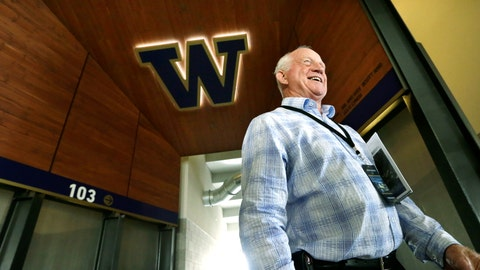 <p>               FILE - In this Aug. 28, 2013 file photo former head coach Jim Lambright smiles as he stands at a concourse entrance in the newly renovated Husky Stadium in Seattle. Lambright has died at age 77, the school announced on Sunday, March 29, 2020. Lambright spent nearly four decades associated with the Washington program as a player, assistant coach and head coach. (AP Photo/Elaine Thompson, file)             </p>