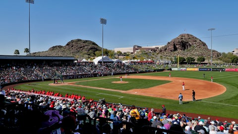 <p>               The Los Angeles Angels and the Seattle Mariners play during the fourth inning of a spring training baseball game Wednesday, March 4, 2020, in Tempe, Ariz. (AP Photo/Matt York)             </p>
