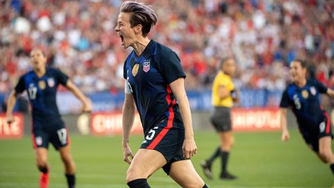 <p>               United States forward Megan Rapinoe (15) celebrates after scoring on a free kick against Japan during the first half of a SheBelieves Cup women's soccer match, Wednesday, March 11, 2020 at Toyota Stadium in Frisco, Texas. (AP Photo/Jeffrey McWhorter)             </p>