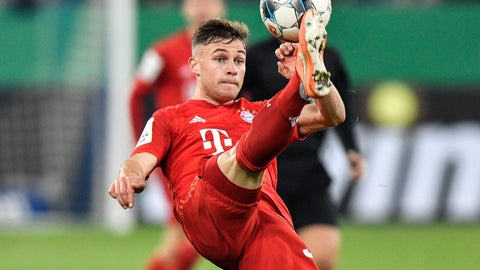 <p>               Bayern's Joshua Kimmich plays the ball during the German soccer cup, DFB Pokal, quarter-final match between FC Schalke 04 and Bayern Munich in Gelsenkirchen, Germany, Tuesday, March 3, 2020. (AP Photo/Martin Meissner)             </p>