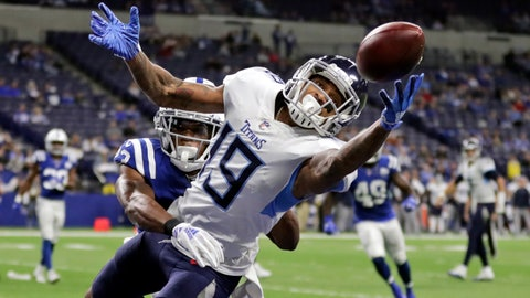 <p>               FILE - In this Nov. 18, 2018, file photo, Tennessee Titans' Tajae Sharpe (19) makes a touchdown catch against Indianapolis Colts' Kenny Moore during the second half of an NFL football gam, in Indianapolis. After the departure of Stefon Diggs, the Vikings have turned to Sharpe to fill a startling void at wide receiver. (AP Photo/Michael Conroy, File)             </p>