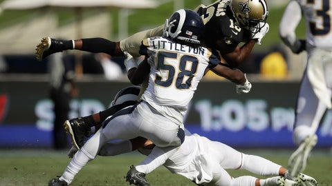 <p>               FILE - In this Sept. 15, 2019, file photo, New Orleans Saints wide receiver Michael Thomas, top, is tackled by Los Angeles Rams inside linebacker Cory Littleton during the second half of an NFL football game in Los Angeles. The Las Vegas Raiders have agreed with free agent linebacker Cory Littleton on a three-year contract. A person familiar with the contract says the sides came to agreement on the deal to give the Raiders a major upgrade at linebacker. The person spoke on condition of anonymity because the contract can't be signed until the start of the new league year on Wednesday, March 18, 2020.  (AP Photo/Marcio Jose Sanchez, File)             </p>
