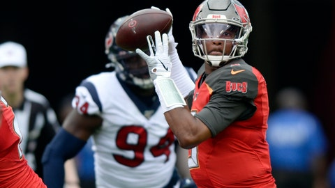 <p>               FILE - In this Dec. 21, 2019, file photo, Tampa Bay Buccaneers quarterback Jameis Winston (3) throws a pass during the first half of an NFL football game against the Houston Texans in Tampa, Fla. Winston, Cam Newton and Jadeveon Clowney didn't have to wait long at all to find homes in the NFL when they came out of college. The three former No. 1 overall draft picks are finding things moving much more slowly as they search for new homes or contracts this offseason. (AP Photo/Jason Behnken, File)             </p>