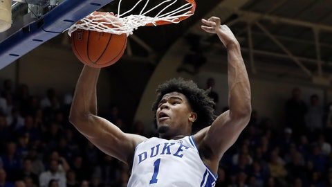 <p>               Duke center Vernon Carey Jr. (1) dunks against North Carolina during the second half of an NCAA college basketball game in Durham, N.C., Saturday, March 7, 2020. (AP Photo/Gerry Broome)             </p>