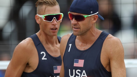 <p>               FILE - In this Aug. 16, 2016, file photo, the United States team of Casey Patterson, left, and Jacob Gibb walk on the pitch during a men's beach volleyball match against Spain at the 2016 Summer Olympics in Rio de Janeiro, Brazil. Since the spread of coronavirus, three beach volleyball events in China and Singapore have been postponed until after the Summer Games or canceled outright, and the five-star World Tour Finals is in Italy, another focus of the outbreak. (AP Photo/Petr David Josek, File)             </p>