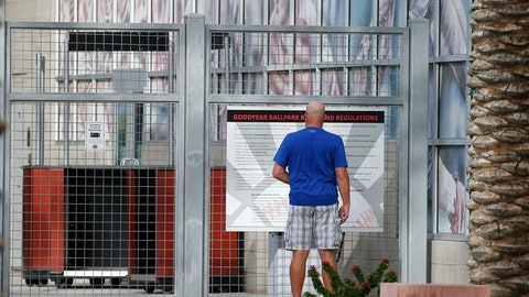<p>               A ticket holder pauses outside a closed Goodyear Ballpark, spring training home of the Cleveland Indians and Cincinnati Reds baseball teams, reading a sign as to where he might get a refund for a canceled game, Thursday, March 12, 2020, in Goodyear, Ariz. Major League Baseball has suspended the rest of its spring training game schedule because if the coronavirus outbreak. MLB is also delaying the start of its regular season by at least two weeks. (AP Photo/Ross D. Franklin)             </p>