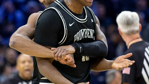 <p>               Providence forward Kalif Young (13), right, and Providence forward Emmitt Holt (15) celebrate their 58-54 win over Villanova after an NCAA college basketball game, Saturday, Feb. 29, 2020, in Philadelphia, Pa. (AP Photo/Laurence Kesterson)             </p>