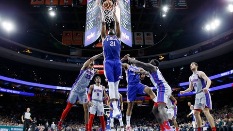 <p>               Philadelphia 76ers' Joel Embiid goes up for dunk during the first half of an NBA basketball game against the Detroit Pistons, Wednesday, March 11, 2020, in Philadelphia. (AP Photo/Matt Slocum)             </p>