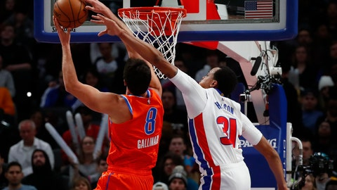 <p>               Oklahoma City Thunder forward Danilo Gallinari (8) drives on Detroit Pistons forward John Henson (31) in the first half of an NBA basketball game in Detroit, Wednesday, March 4, 2020. (AP Photo/Paul Sancya)             </p>