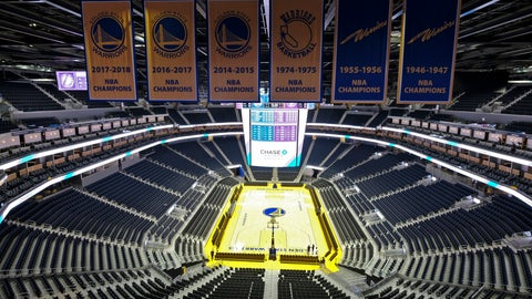 <p>               FILE - In this Aug. 26, 2019, file photo, the Golden State Warriors championship banners hang above the seating and basketball court at the Chase Center in San Francisco. The Warriors will play the Brooklyn Nets at home Thursday night, March 12, 2020, in the first NBA game without fans since the outbreak of the coronavirus. (AP Photo/Eric Risberg, File)             </p>