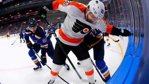 <p>               Philadelphia Flyers forward James van Riemsdyk (25) fights for control of the puck against St. Louis Blues forward Jacob De La Rose (61) of Sweden during the first period of an NHL hockey game Wednesday, Jan. 15, 2020 in St. Louis. (AP Photo/Dilip Vishwanat)             </p>