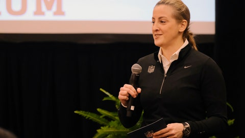 <p>               FILE - In this Feb. 26, 2019, file photo, Samantha Rapoport speaks at the NFL Women's Forum in Indianapolis. The forum was begun by Rapoport, the league's senior director of diversity and inclusion. The idea is simple: providing opportunities. (AP Photo/AJ Mast, File)             </p>
