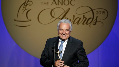 """<p>               FILE - In this Thursday, Oct. 29, 2015 filer, Francesco Ricci Bitti speaks after receiving the award for Outstanding Lifetime Achievement, during an Association of National Olympic Committees (ANOC) awards ceremony, in Washington. Despite some early differences of opinion, the 33 sports that make up the Olympic program voted unanimously on Monday to delay the Tokyo Games by a full year. Moments later, the International Olympic committee made it official. """"We were the last to express our view. We're the ones who have problems with the calendar to deal with,"""" said Francesco Ricci Bitti, the president of the Association of Summer Olympic International Federations (ASOIF). (AP Photo/Alex Brandon, File)             </p>"""