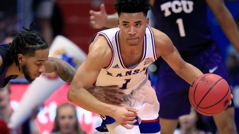 <p>               Kansas guard Devon Dotson (1) steals the ball from TCU guard PJ Fuller, left, during the first half of an NCAA college basketball game in Lawrence, Kan., Wednesday, March 4, 2020. (AP Photo/Orlin Wagner)             </p>