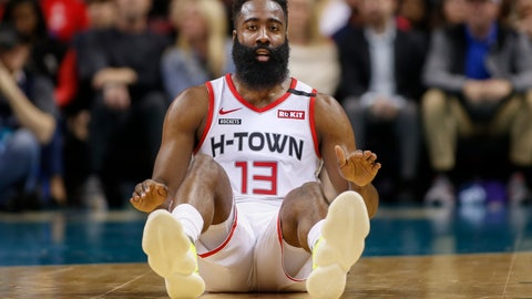 <p>               Houston Rockets guard James Harden sits on the court after being fouled during the first half of an NBA basketball game against the Charlotte Hornets in Charlotte, N.C., Saturday, March 7, 2020. (AP Photo/Nell Redmond)             </p>