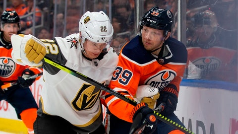 <p>               Edmonton Oilers' Alex Chiasson (39) jostles with Vegas Golden Knights' Nick Holden (22) during second-period NHL hockey game action in Edmonton, Alberta, Monday, March 9, 2020. (Codie McLachlan/The Canadian Press via AP)             </p>