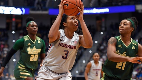 <p>               Connecticut's Megan Walker (3) looks to shoot as South Florida's Shae Leverett (21) defends in the first half of an NCAA college basketball game, Monday, March 2, 2020, in Hartford, Conn. (AP Photo/Jessica Hill)             </p>