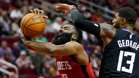 <p>               Houston Rockets' James Harden, left, is fouled by Los Angeles Clippers' Paul George during the second half of an NBA basketball game Thursday, March 5, 2020, in Houston. The Clippers won 120-105. (AP Photo/David J. Phillip)             </p>