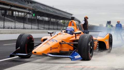 <p>               FILE - In this April 24, 2019, file photo, IndyCar driver Fernando Alonso, of Spain, drives out of the pit area during testing at the Indianapolis Motor Speedway in Indianapolis. Alonso will once again attempt to complete motorsports' version of the Triple Crown with a return to the Indianapolis 500 in May with McLaren. (AP Photo/Michael Conroy, File)             </p>