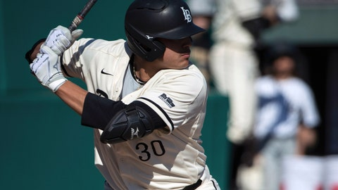 <p>               FILE - In this Feb. 24, 2019, file photo, Long Beach outfielder Calvin Estrada (30) bats against Nevada during an NCAA college baseball game in Long Beach, Calif. On this date one year ago, Long Beach State was 0-10 and on its way to a 14-41 record. With most of the same players back, the Dirtbags begin this week 8-3 and coming off three straight weekend series wins, the last two against nationally ranked Wake Forest and Mississippi State.(AP Photo/Hiro Ueno, File)             </p>