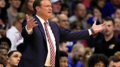 <p>               Kansas head coach Bill Self questions a call during the first half of an NCAA college basketball game against Oklahoma State in Lawrence, Kan., Monday, Feb. 24, 2020. (AP Photo/Orlin Wagner)             </p>