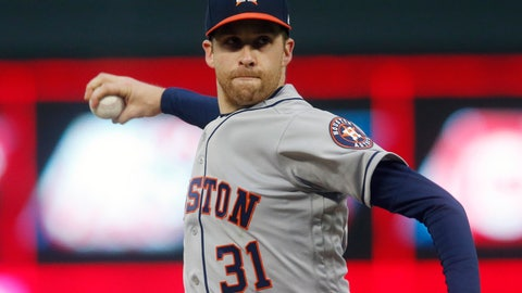 <p>               FILE - In this May 1, 2019, file photo, Houston Astros pitcher Collin McHugh throws against the Minnesota Twins in the first inning of a baseball game in Minneapolis. McHugh agreed to a $600,000, one-year contract with the pitching-needy Boston Red Sox, a deal that allows him earn up to $4.25 million. (AP Photo/Jim Mone, File)             </p>