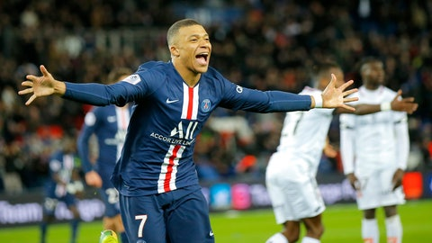 <p>               PSG's Kylian Mbappe celebrates after scoring his side's fourth goal during the French League One soccer match between Paris-Saint-Germain and Dijon, at the Parc des Princes stadium in Paris, France, Saturday, Feb. 29, 2020. (AP Photo/Michel Euler)             </p>