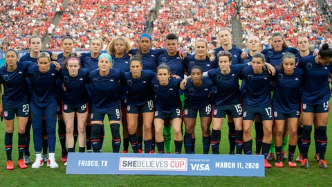 <p>               The United States Women's National Team poses for a team photo before a SheBelieves Cup women's soccer match against Japan, Wednesday, March 11, 2020 at Toyota Stadium in Frisco, Texas. (AP Photo/Jeffrey McWhorter)             </p>