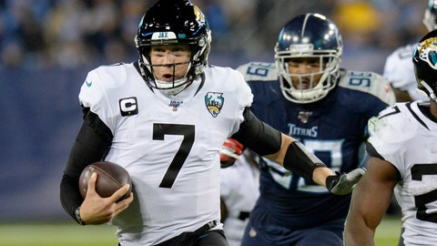 <p>               FLE - In this Nov. 24, 2019, file photo, Jacksonville Jaguars quarterback Nick Foles (7) scrambles against the Tennessee Titans in the second half of an NFL football game in Nashville, Tenn. A person familiar with the trade says the Jacksonville Jaguars have agreed to send quarterback Nick Foles to the Chicago Bears for a compensatory fourth-round draft pick. The person spoke to The Associated Press on condition of anonymity because trades don't become official until the league year begins later Wednesday, March 18, 2020. (AP Photo/Mark Zaleski, File)             </p>