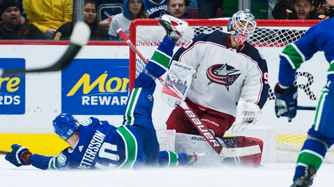 <p>               Vancouver Canucks center Elias Pettersson (40) sends a shot past Columbus Blue Jackets goaltender Elvis Merzlikins (90) during the third period of an NHL hockey game in Vancouver, British Columbia, Sunday, March 8, 2020. (Jonathan Hayward/The Canadian Press via AP)             </p>